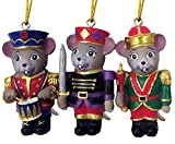 Christmas Holiday Nutcracker Mouse Ornaments Hand Painted Bright Colors Set of 3