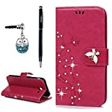 Samsung Galaxy J3 Emerge Case, J3 Prime / J3 2017 Case, YOKIRIN 3D Fashion Handmade Bling Crystal Rhinestone Butterfly Floral PU Flip Stand Credit Card ID Holders Wallet Leather Case Cover, Hot Pink