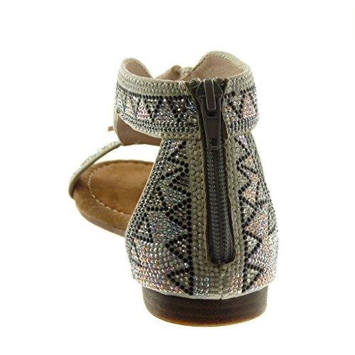 Angkorly Zapatillas Moda Sandalias Folk Correa Mujer Strass Pompom Fleco Plataforma 1.5 cm Plata