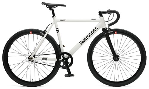Retrospec Bicycles Drome Fixed-Gear Track Bike with Carbon Fork, White, 58 cm/Large