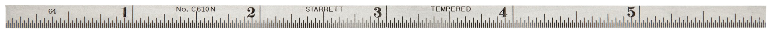 Starrett C610N-6 Spring Tempered Steel Narrow Rule With Inch Graduations, 6'' Length, 3/16'' Width, 3/64'' Thickness