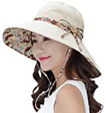 HindaWi Sun Hats for Women Packable Wide Brim UV Protection Beach Hat,Beige