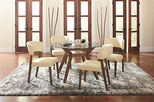 Coaster Home Furnishings Paxton 5-Piece Dining Set with Upholstered Nutmeg and Cream (Dining Sets Round)