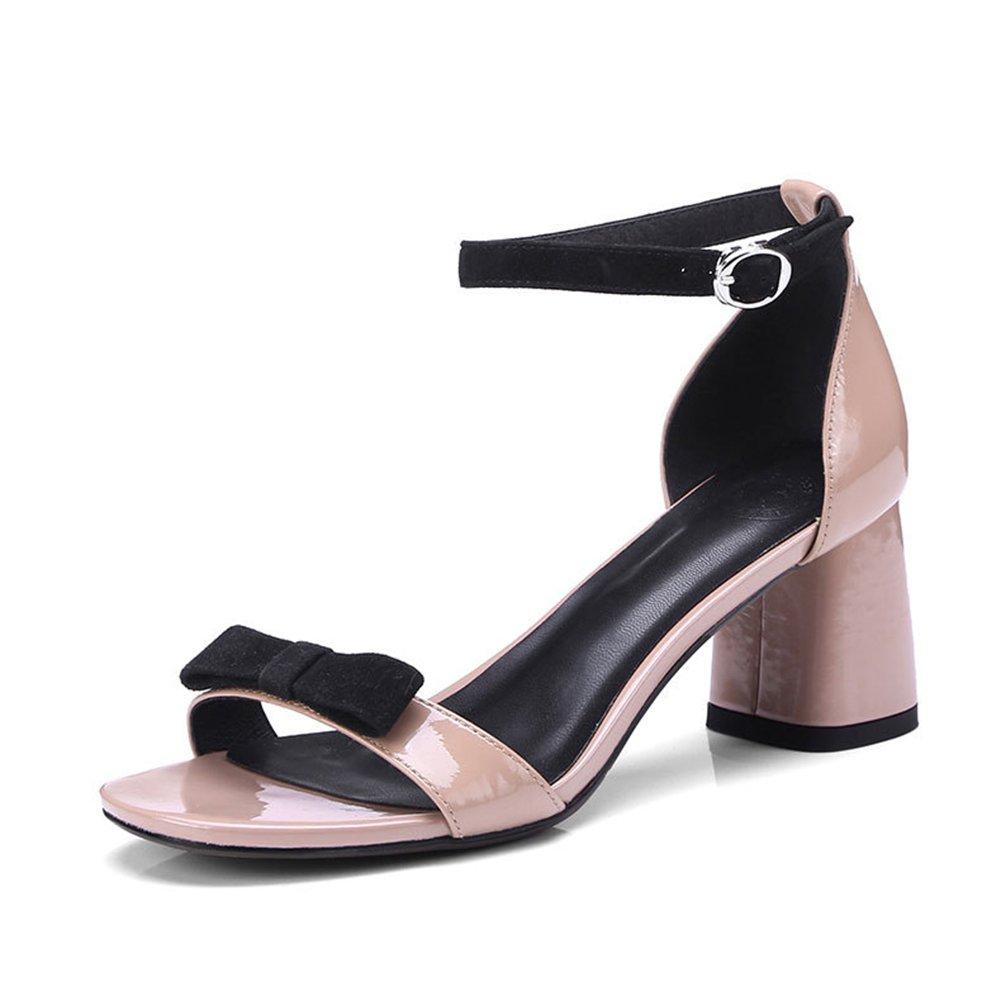 Sandalias de Las Mujeres de Verano Nuevo Crudo con Zapatos de Tacón Alto Casual y Cómodo de la Mariposa Nudo Sandalias de Moda Zapatos de Mujer (Color : Rosado, Tamaño : 37) 37|Rosado