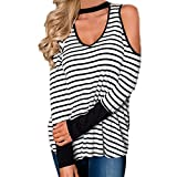 Women Strapless Fashion Stripe Print Cold Shoulder Tops Long Sleeve Shirt Blouse