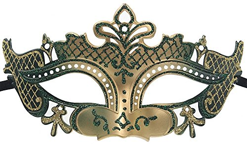 Burger Queen Costume - Hagora, Women's Inner Queen Style Royal Vivid Sparkling Tones Venetian Mask,Green Gold One Size fits Most