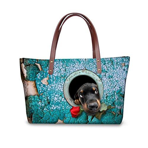 Handbag Print Animal Tote (FOR U DESIGNS Vintage Animals Dog Print Women Tote Shoulder Bags Casual Handbags)