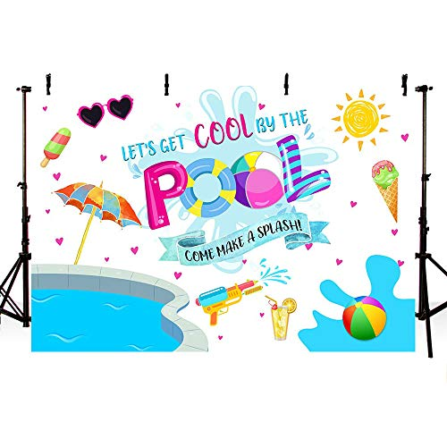 - MEHOFOTO Summer Cool Swimming Pool Party Backdrop Ice Cream Ball Sun Umbrella Swimming Ring Splash Birthday Decorations Background Photography Photo Booth Banner 7x5ft
