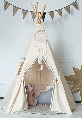 Kinder Tipi Zelt mit 5 Stangen, Spielzelt, Kinder Tipi, Kleinkinder ...