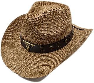HYF Cappello da Cowboy da Uomo di Paglia Cappello da Cowboy da Gentiluomo con Cappellino da Cowgirl (Colore : Marrone, Dimensione : 58 Centimetri)
