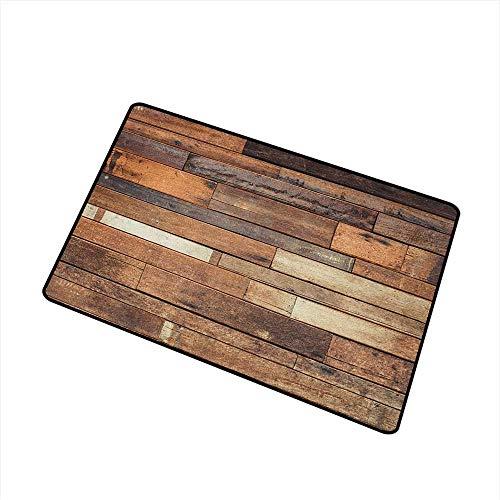 - Sillgt Wooden Indoor Doormat Rustic Floor Planks Print Grungy Look Farm House Country Style Walnut Oak Grain Image Easy Clean Rugs 20