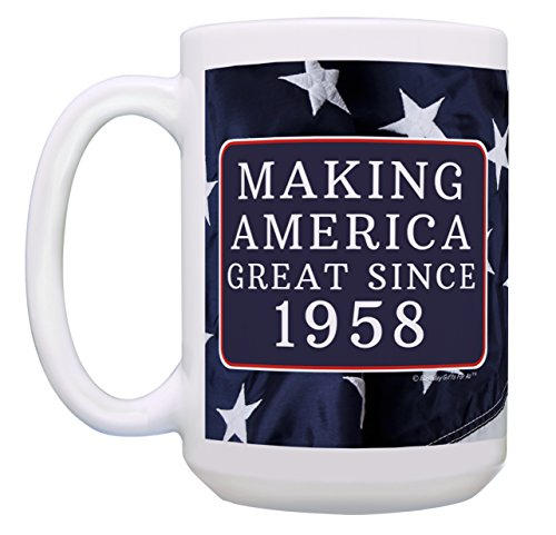60th Birthday Gifts for All Making America Great Since 1958 Turning 60 Birthday Gift Ideas MAGA Coffee Mug Birthday Mug MAGA Gifts 15-oz Coffee Mug Tea Cup 15 oz American Flag by ThisWear (Image #2)