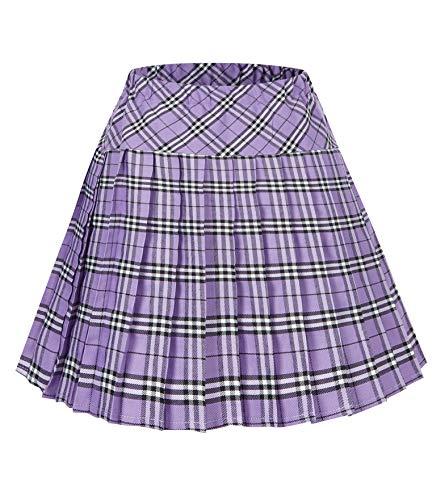 Women's Elastic Waist Plaid Pleated Skirt Tartan Skater School Uniform Mini Skirts