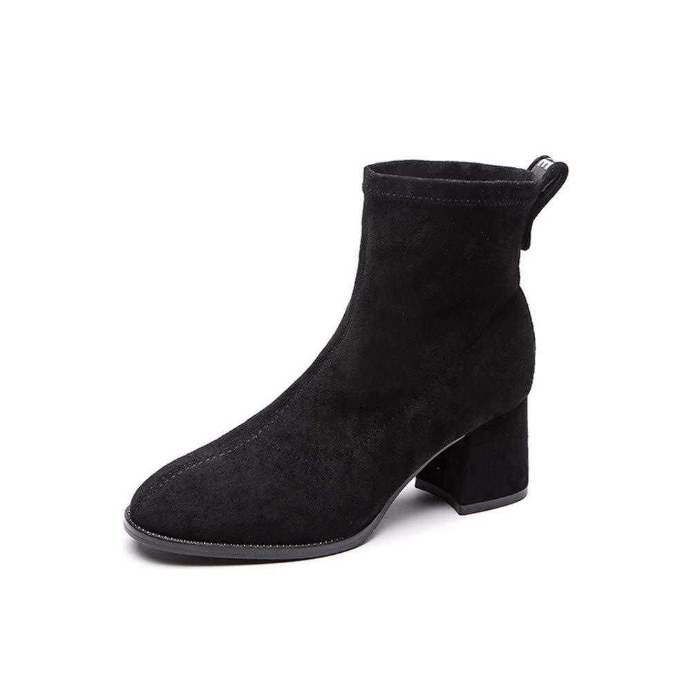 BeatinToes Damen Herbst Winter Thermisch Rutschfeste Elastische Manschetten Fashion Farbe High Heels Stiefel