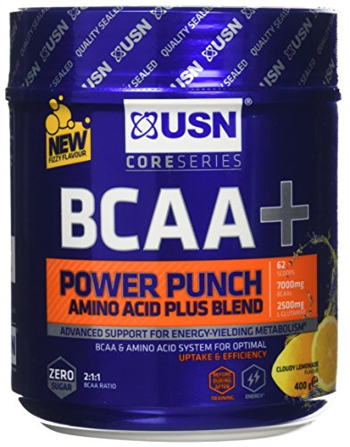 USN BCAA Power Punch Amino Acid Plus Blend, Cloudy Lemonade, 400 g