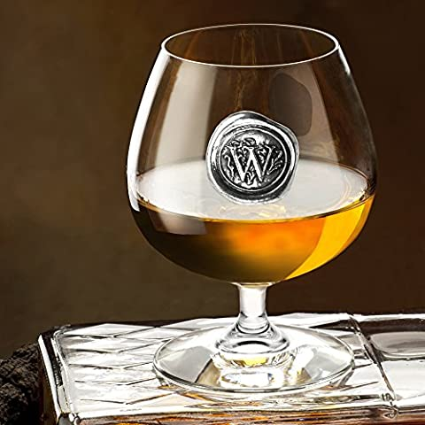 English Pewter Company 14.5oz Brandy Cognac Snifter Glass With Monogram Initial – Unique Gifts For Men – Personalized…