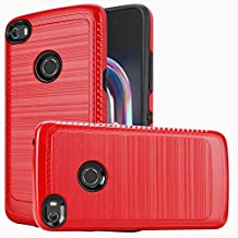 Alcatel Idol 5 / 6058 Case, Luckiefind Slim Brush Texture Hybrid Defender Armor Protective Case Cover with Stylus Pen & Screen Protector Accessory (Brush Red)