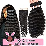 Brazilian Human Hair Deep Wave 3 Bundles 100 Unprocessed Virgin Brazilian Deep Curly Hair Weave Human Hair Brazilian Deep Wave Bundles With Closure Natural Color (10 12 14 and 10 Closure)