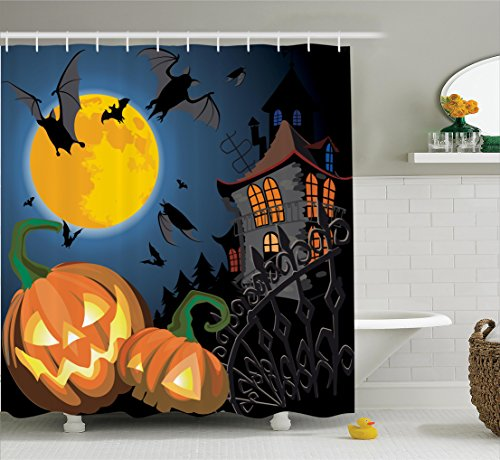 Halloween Decorations Shower Curtain Set By Ambesonne, Gothic Scene With Halloween Haunted House Party Theme Decor Trick Or Treat For Kids, Bathroom Accessories, 69W X 70L Inches, Multi