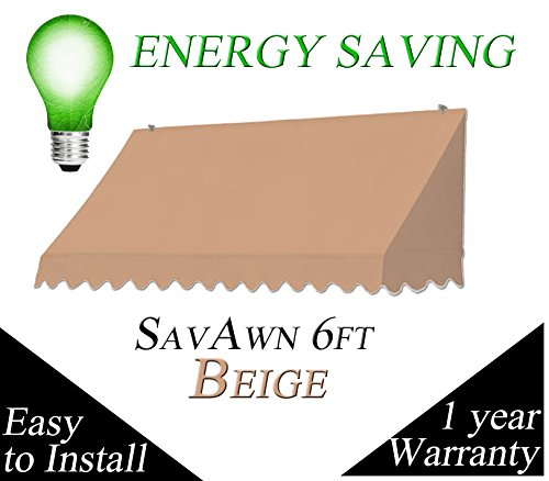 SavAwn 6' Classic Beige (Brown/tan) Retractable Non-Rusting Aluminum & Canvas Awning ()