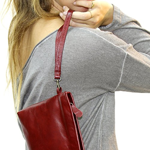 Hobo Makeup Halloween (Deep red leather wristlet Wrist strap clutch with handle Handmade Makeup evening bag for woman)