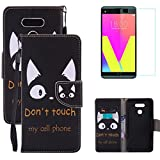 For LG G6 Wallet Case with Screen Protector,OYIME [Cute Drawing Cat] Magnetic Flip Holster with Lanyard Kickstand Function Card Slots Full Body Protective Cover -Don't Touch My Phone