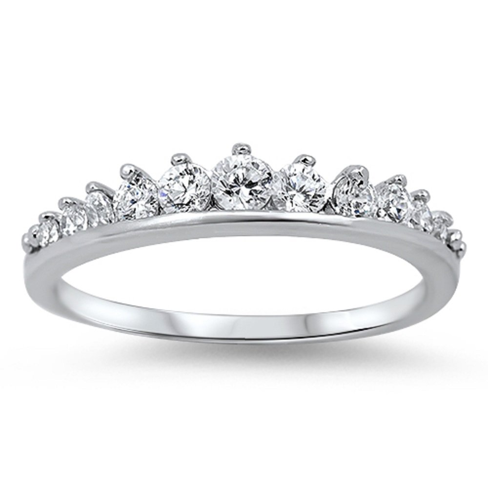 CloseoutWarehouse Cubic Zirconia Journey Tiara Ring Sterling Silver Size 8