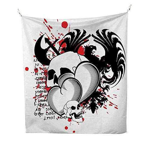 Tattoospace tapestryConjoined Hearts with Skull Eagle Wings Symbol of The Brave Love Print 54W x 84L inch Wall Hanging tapestryBlack White and Red