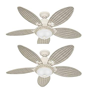 Hunter 54094 Caribbean Breeze 54-Inch Textured Ceiling Fan with Five Cream Wicker Blades and Light Kit, White