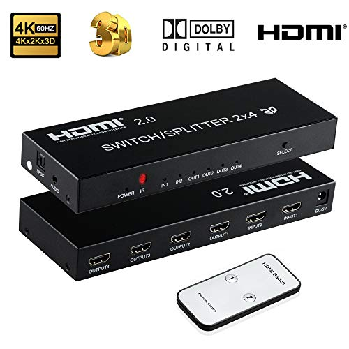 2 x 4 HDMI Switch, ZAMO 2 in 4 Out HDMI Switcher Splitter with Amplifier SPDIF Audio 3.5mm, 4 Out 2 in HDMI 2.0 Switch Splitter with Audio Extractor Support HD 4Kx2K, 3D, 1080P