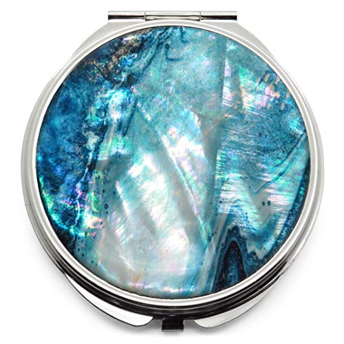 Makeup Compact Pocket Mirror Mother of Pearl Metal Round Double Sided Folding Magnify Turquoise ()