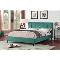 Christies Home Living Modern Upholstered Square Stitched Platform Bed with Wooden Slats, Teal, Eastern King