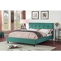 Christies Home Living Modern Upholstered Square Stitched Platform Bed with Wooden Slats, Teal, Eastern King