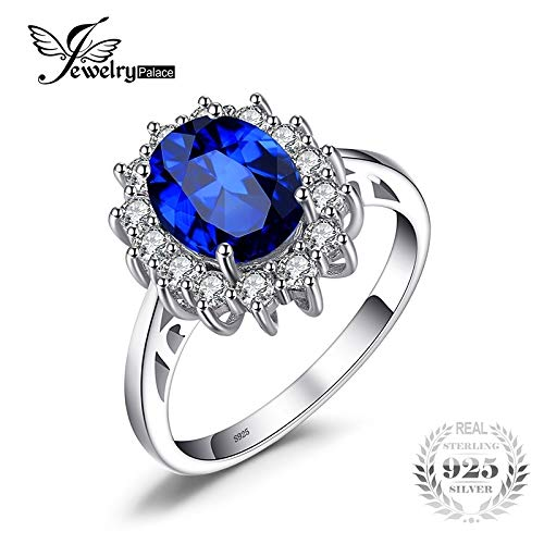 - moahhally JewelryPalace Princess Diana William Kate Middleton's 3.2ct Created Blue Sapphire Engagement 925 Sterling Silver Ring(Blue,6)