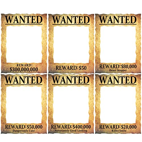 ceiba tree Wanted Reward Photo Frame Props Cutouts for Pirates Wild West Themed Birthday Party 6 designs 3 ()