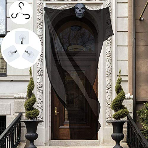 Elcoho 10ft Halloween Props Scary Halloween Ghost Decorations Halloween Hanging Ghost Prop Halloween Hanging Skeleton Flying Ghost Halloween Hanging Decorations for Yard Outdoor Indoor Party Bar,black]()