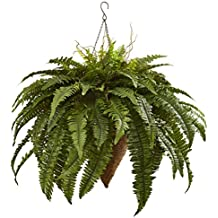 "Nearly Natural 6872 26"" Giant Boston Fern with Cone Hanging Basket"