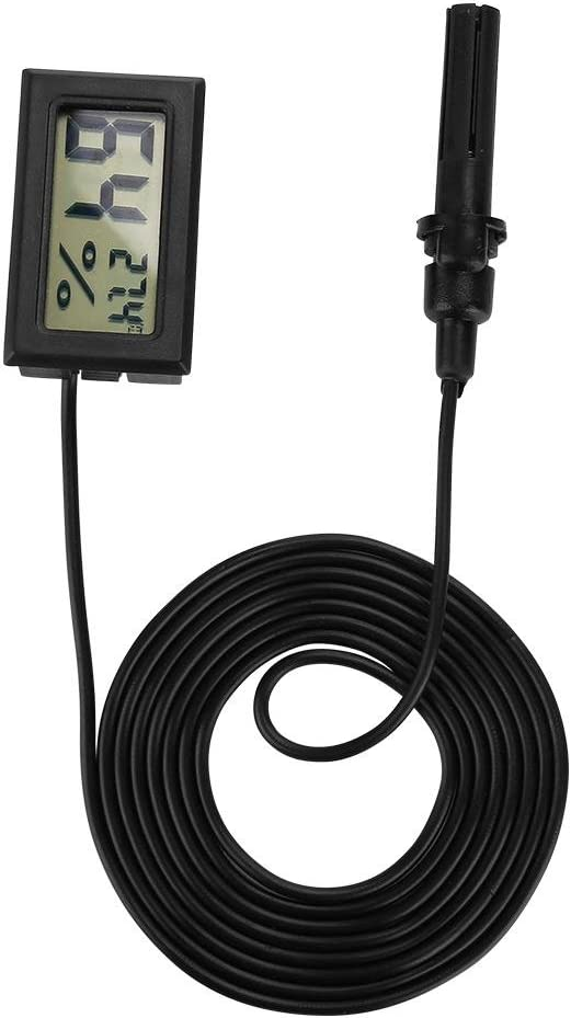 Black Aramox Thermometer Hygrometer LCD Digital Thermometer Humidity Meter Monitor with 1.5m Wired Sensor Head Probe for Violin Guitar Ukulele