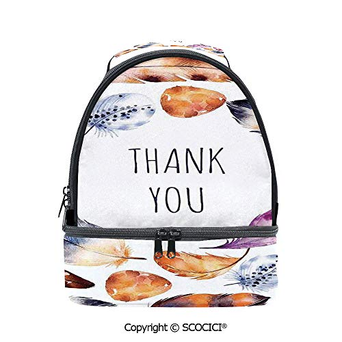 - SCOCICI Large Capacity Durable Material Lunch Box Bird Hawk Colored Feathers with Hand Written Thank You Note in Middle Print Multipurpose Adjustable Lunch Bag