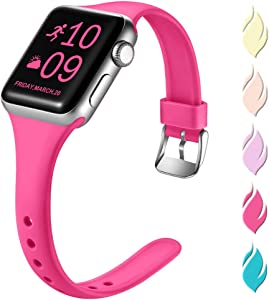 Henva Fashionable Band Compatible with iWatch 40mm 38mm, Waterproof Soft Band Compatible for Apple Watch SE Series 6/5/4/3/2/1, Rose Pink, S/M
