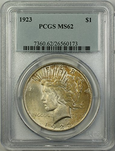 1923 Peace Silver Dollar Coin (ABR14-H) Better Coin Toned $1 MS-62 PCGS