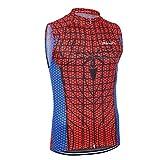 Mzcurse Women's Superhero Sleeveless Jersey Shirt Blouse Tops Zipper Elastic(Spiderman, Medium,please check the size chart)