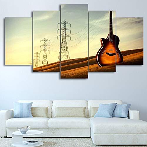 descuento online Frame BAIF 5 5 5 Unidades Lienzo de Pintura HD Lienzo D Wall Art Modular 5 Panel de Guitarra Música Paisaje Marco del Cartel Moderno Decoración del Hogar Sala de Estar Fotos Pintura 10x15 10x20 10x25cm  en venta en línea