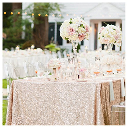 "B-COOL Sequin Tablecloth Champagne Blush 50""x50"" Sparkly Seq"