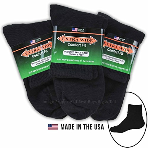 - Big & Tall Men's Extra Wide Socks Athletic Quarter Size 11-16 BLACK 3-Pack #1210B
