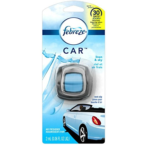 Febreze 2 amL (0.06 FL OZ) Car Vent Clips Air Freshener and Odor Eliminator, Linen and Sky Scent - 8 Pieces (Clean Linen Car Freshener)