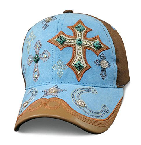 Turquoise Cowgirl Crosses & Horseshoes Baseball Cap with Cross Turquoise Stones and Bling Faux Suede with Cross Baseball Cap Ladies Womens Headwear Embroidered Accent Jewels, Rhinestones & Jewels ()