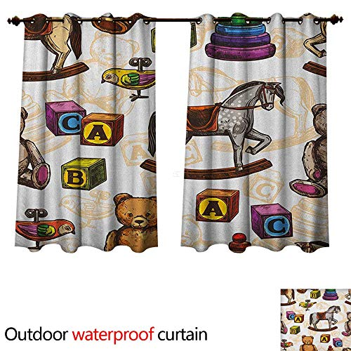 Anshesix Vintage Outdoor Ultraviolet Protective Curtains Retro Style Kids Toys Rocking Horse Teddy Bear and Bird Illustration Print W55 x L72(140cm x 183cm)