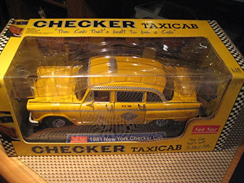 Taxi Cab Diecast Model - 1981 Checker Taxi Cab - New York Diecast Model Car in 1:18 Scale by Sun Star