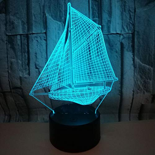 Sailboat 3D Optical Illusion,7 Colors Changeable Touch Sensor LED Night Light Toys for Children Kids Decor for Home Baby Room